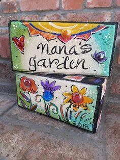 Mother's Day, Garden Bricks, Painted Bricks, Garden Decor - busters. Painted Bricks Crafts, Brick Crafts, Painted Pavers, Cement Crafts, Hand Painted Rocks, Cement Pavers, Brick Projects, Painted Chairs, Painted Pots