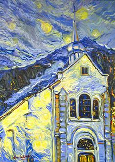 """Saatchi Art is pleased to offer the painting, """"Chamonix Mont Blanc, Saint- Michel church in the Alps,"""" by Nino Ponditerra, available for purchase at $2,280 USD. Original Painting: Oil on Canvas. Size is 27.6 H x 19.7 W x 0.8 in. Mountain Landscape, Mountain View, Original Paintings, Original Art, Oil Paintings, Van Gogh Art, Mountain Paintings, Canvas Art, Canvas Size"""