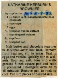 Katharine Hepburn's Brownies :: Historic Recipe as published in 1992 Gourmet magazine Perfect recipe - simple and fantastic Creamed Corn Casserole Recipe, Cream Corn Casserole, Pound Cake Recipes, Brownie Recipes, Cookie Recipes, Old Recipes, Vintage Recipes, Recipies, Cake Bars