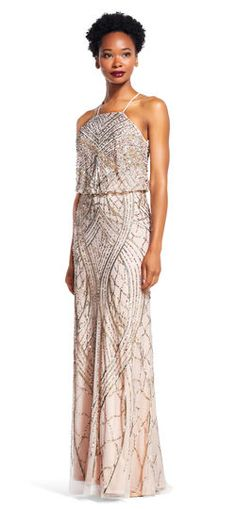Adrianna Papell | Beaded Blouson Halter Gown