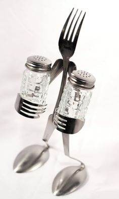 Salt 'n Pepper  Grid Shaker  Fork by ForkedUpArt on Etsy, $27.50
