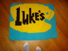 Gilmore Girl CAL- (Crochet A Long)  The first square (not finished).  I'm doing single crochet for the background and bobble stitches for the picture.  A fun group project by Angela Francis.  Made for Jayne Garro.