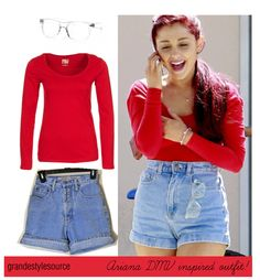 Ariana DMV Inspired Outfit (for less).    Red Long Sleeved Top - £16 (Any basic long sleeved red top thats stretchy will do!)  SIMILAR Vintage Denim High-Waisted Shorts - $25  VERY SIMILAR 80's Style 'Invisible' Crystal Clear Sunglasses - $10