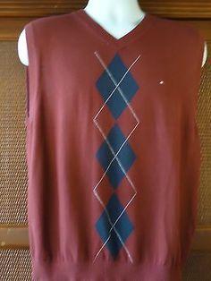 Tommy Hilfiger Large Men's Sweater Vest Wine/Navy Shirt CHECKS