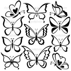 Butterflies, black contours — Stock Illustration © oksanaok #
