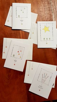 Only a picture but lovely idea - Carte - Noel Watercolor Christmas Cards, Christmas Card Crafts, Homemade Christmas Cards, Christmas Cards To Make, Christmas Greeting Cards, Homemade Cards, Handmade Christmas, Holiday Cards, Hand Drawn Cards