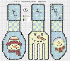 SNOWMAN LET IT SNOW CUTLERY by CG -- WALL HANGING