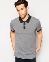 houndstooth-esprit houndstooth polo shirt with contrast collar gray 071