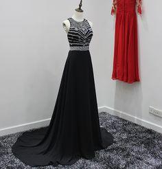 Royal Blue Sexy Evening Dress Black Chiffon Backless Elegant Long Evening Dresses with Crystals