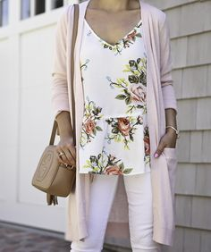 floral peplum cami top, pink long cardigan, gucci soho disco bag, white jeans, summer outfit, casual weekend outfit idea, petite fashion blog - click the photo for outfit details!