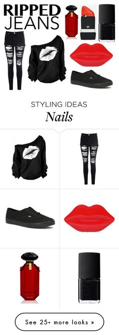 """""""Style This Trend: Ripped Jeans"""" by lexi899 on Polyvore featuring Glamorous, Vans, Lulu Guinness, NARS Cosmetics, Valfré and Victoria's Secret Cute Highschool Outfits, High School Outfits, B Fashion, Fashion Design, Cute Edgy Outfits, Lulu Guinness, Ripped Jeans, Nars Cosmetics, Victoria's Secret"""