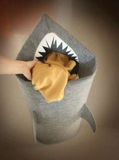 Shark-Shaped Laundry Basket Will Gobble Your Dirties #uniquefurniture #differenthomedecor