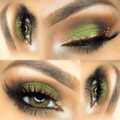 Eyeshadow Looks Gold eyeliner green eyeshadow Gold Eyeliner grünen Lidschatten Sexy Eye Makeup, Eye Makeup Tips, Makeup Hacks, Pretty Makeup, Makeup Goals, Love Makeup, Makeup Inspo, Skin Makeup, Makeup Inspiration