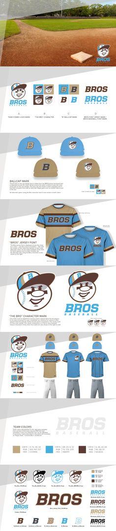Logo marks & style guide of work created for The Bros, a select tournament baseball team client. Sports Team Logos, Artwork Design, Logo Branding, Style Guides, Creative Design, Baseball