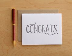 Congrats Letterpress Greeting Card by wayfarepress on Etsy, $5.00