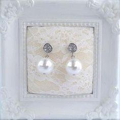 Perle 12mm på rhinestone-øredel, White pearls