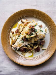 Smoked haddock with potato and bacon.  Courtesy of Nigel Slater.