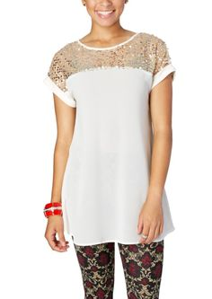 Sequined Yoke Popover   Shirts & Blouses   rue21
