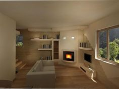 Brick Fireplace Makeover, Home Fireplace, Living Room With Fireplace, Fireplace Surrounds, Fireplace Design, Cottage Living Rooms, Living Room Decor, Camino Design, Interior Design Kitchen