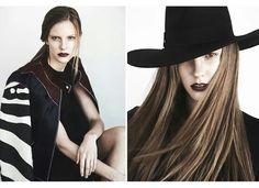 Photography by Adam Reyna. Makeup by Andrea C. Samuels. Dark lip. Clean makeup. Hat. Prada. Fendi.