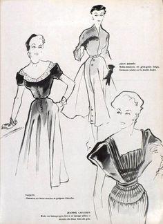 Jean Dessès, Paquin, Jeanne Lafaurie, 1951 Vintage Clothing, Vintage Outfits, Fashion Illustrations, Design, Art, Vintage Designs, World, Stone, Art Background