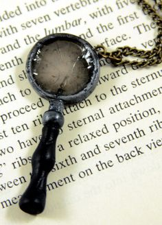 Broken Magnifying Glass by NeverlandJewelry on DeviantArt Cute Zombie, Zombie Girl, Polymer Clay Charms, Polymer Clay Creations, Book Necklace, Angel Sculpture, Beloved Book, Mixed Media Sculpture, Play Clay
