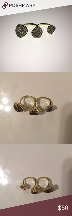 Kendra Scott double ring Kendra Scott double ring, colors: gold with grey/chrome graphite gemstone Kendra Scott Jewelry Rings