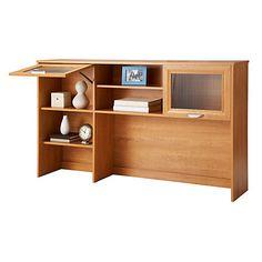 Realspace Magellan Hutch for Corner/L-Desk, Honey Maple Office Furniture Outlet, Home Office Furniture Design, Cabinet Space, Filing Cabinet, Armoire, Corner Hutch, Corner Desk, Work Station Desk, Vertical Storage