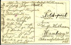 FELDPOST - (field mailing) - The use of a pencil to write a brief message on the back shows that the cards were valued at the time. Postage stamps are often not affixed to the card - soldiers were able to mail their cards without cost through the military mail system.