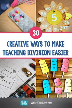 30 Creative Ways to Make Teaching Division Easier. Teaching division can be a real challenge. Find the best division activities to help every type of learner master this important math skill. Teaching Division, Division Activities, Division Games, Math Activities For Kids, Preschool Games, Math For Kids, Hands On Activities, Math Resources, Math Games