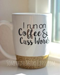 This custom order was such a huge hit, I knew I had to add it to my shop!  Do YOU run on coffee & cuss words? Or someone you know?  This 14oz coffee mug is dipped in gold glitter, and has a double-sided design. The front reads I run on Coffee & Cuss Words and the back reads #GirlBoss. **If you do not want the #GirlBoss on the back, please select blank from the Back Design dropdown.**  Want different colored glitter or text? Just make a note during checkout, and I will customize it for you…