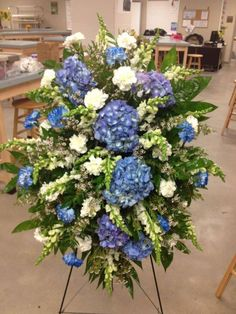 spray by Jennifer Boyd Designs. Blue Flower Arrangements, Funeral Floral Arrangements, Church Flowers, Funeral Flowers, Wedding Flowers, Casket Flowers, Funeral Sprays, Casket Sprays, Memorial Flowers