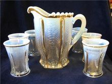 Victorian EAPG Northwood Glass Drapery Water Set Pitcher 6 Tumblers Opalescent..