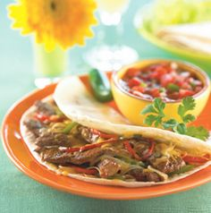 Marinate the beef for Quick Beef Fajitas just before you start the grill. Grill Short Cuts peppers and onions for a yummy topping.