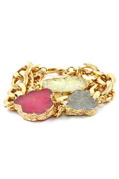 Gold Foiled Druzy Bracelet | Emma Stine Limited