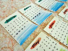 diy watercolor desk calendar & stand