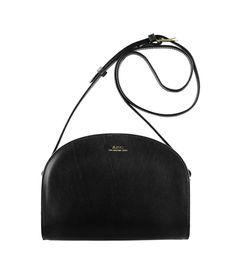 A.P.C., Half Moon Bag, black, leather, crossbody, purse