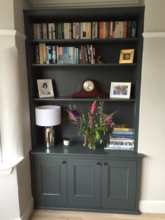 Handmade shelving, alcove unit, painted dark grey and cabinets by Oliver Hazael . - Handmade shelving, alcove unit, painted dark grey and cabinets by Oliver Hazael Bespoke Carpentry i - Living Room Cabinets, Living Room Shelves, Living Room Storage, New Living Room, Home And Living, Alcove Ideas Living Room, Kitchen Cabinets, Diy Kitchen, Grey Living Rooms