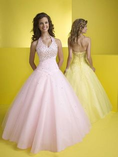 Sexy Ball Gown Halter Floor-Length Quinceanera Dresses