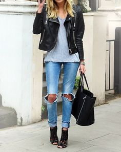 ripped jeans and leather