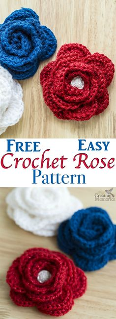 This free easy crochet rose pattern is the perfect project for beginner crochet with beautiful results. They are the perfect embellishment for a crochet hat or crochet headband, Brooch bag pin or home decor. Included is a left-handed crochet video tutoria Crochet Flower Hat, Crochet Roses, Hat Flower, Crochet Beanie, Crochet Brooch, Flower Applique, Crochet Cardigan, Crochet Doilies, Left Handed Crochet