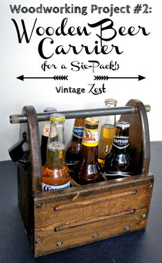 Wooden Beer Carrier (for a Six-Pack!) on Diane's Vintage Zest!  #diy #woodworking #wood