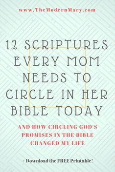 12 Scriptures Every Mom Needs to Circle in Her Bible - Single Working Mom - Ideas of Single Working Mom - 12 powerful scriptures that every single mom needs to circle in their Bible. Also get the free printable to tuck into your Bible or prayer journal. Powerful Scriptures, Prayer Scriptures, Bible Prayers, Bible Bible, Prayers For Kids, Everyday Prayers, Scripture About Prayer, Bible Quotes About Children, Thankful Scripture
