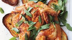 Spatchcocked Chicken on Bread with Herbs and Lemon- Martha Stewart Living, October health for health food food Lemon Recipes, Quick Recipes, Healthy Recipes, Delicious Recipes, Lemon Chicken, Roasted Chicken, Marinated Chicken, Butter Chicken, Baked Chicken