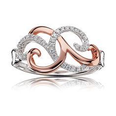 Expertly crafted, this unique open swirl fashion ring intertwines 10 karat white & rose gold to create a beautiful shimmer with brilliant-cut diamonds. Rose Gold Jewelry, I Love Jewelry, Diamond Jewelry, Jewelry Box, Jewelry Rings, Jewelry Accessories, Fine Jewelry, Jewelry Design, Unique Jewelry