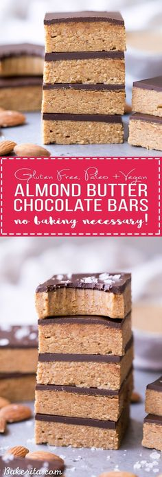 Chocolate Almond Butter Bars (Paleo + Vegan) These No Bake Chocolate Almond Butter Bars are easy to make with just five ingredients and no baking necessary! You've got to sink your teeth into these rich gluten free, paleo and vegan bars. Paleo Vegan, Roh Vegan, Vegan Bar, Paleo Bars, Paleo Diet, Vegetarian, Dessert Sans Gluten, Gluten Free Desserts, Gluten Free Recipes