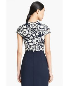Oscar de la Renta | Blue Floral Crochet Knit Silk Bolero | Lyst