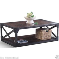 Mercantile Factory Coffee Table Cocktail w Iron Cladding Plank Top New Free SHP | eBay