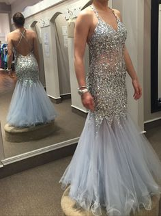 Sexy V-neck Backless Mermaid Tulle Handmade Sequins 2015 Prom Dresses/Formal Dresses/Evening Dresses TUPD-70698