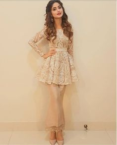 Latest Pakistani Short Frocks Peplum Tops with bell bottoms (4)